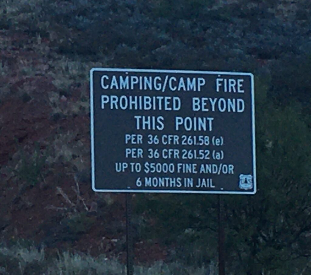 "The ""Dont even think of camping here in your van"" Sign"